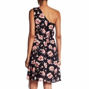 One Shoulder Sleeveless Black Floral Dress DR2